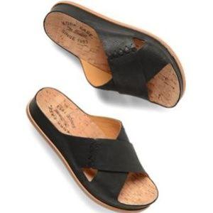 Black Leather Kork-Ease - Womens - Amboy